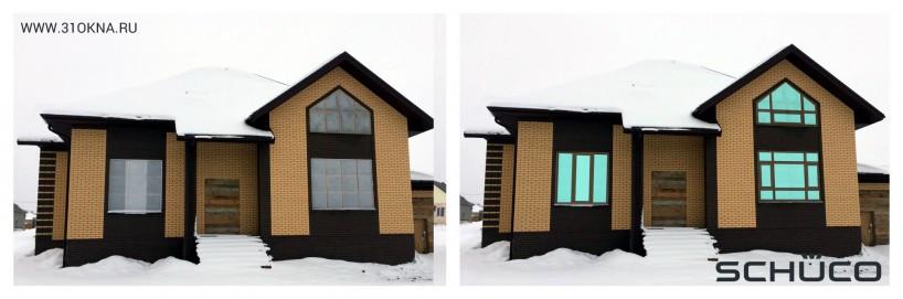 фасад дома с дизайн эскизами окон Schuco Белгород