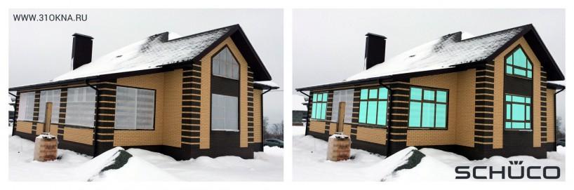 фасад дома с дизайн-эскизами окон Schuco Белгород